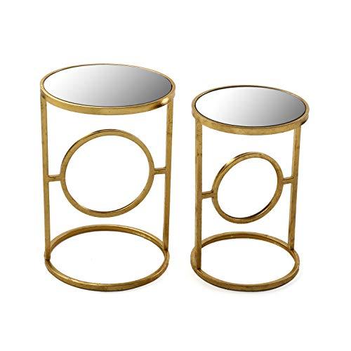 Versa 10850158 Set de 2 mesas auxiliares de café Doradas Camille, Metal y Cristal, 56 x 38 x 38 cm