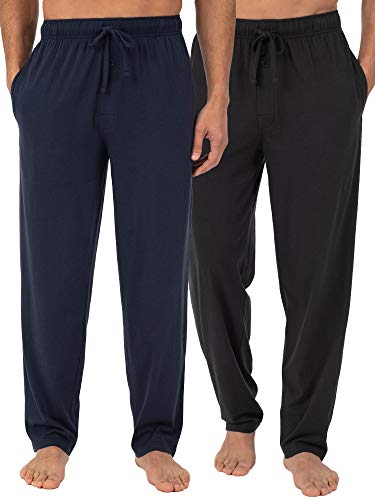 Fruit of the Loom Herren 2-Pack Jersey Knit Pajama Pants Pyjama Set, Schwarz/Marineblau, Medium