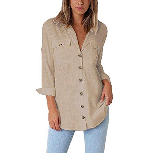 ESAILQ Damen Loose Button Long Shirt Kleid Baumwolle Casual Tops Bluse(M,Khaki)