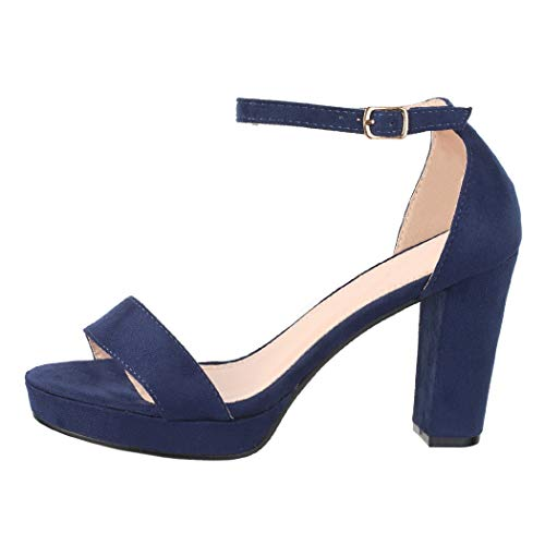 Elara Damen Pumps High Heels Chunkyrayan WW100 Blue-39
