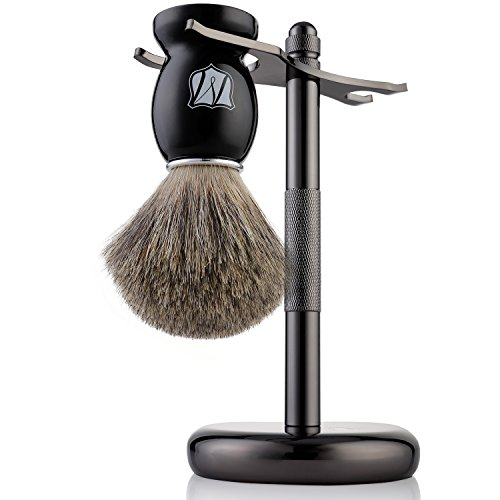 Miusco Natural Badger Hair Shaving Brush and Stand Set, Dark Chrome, Black, Compatible with Safety Razor and Gillette Razor