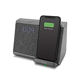 iHome iBTW39 Bluetooth Dual Alarm Clock with with USB and Qi Wireless Charging for iPhone 12, 11, XR, XS, X, 8, Galaxy S20, Z Flip, Fold, S10, S9, S8, Note 10, 9 and More