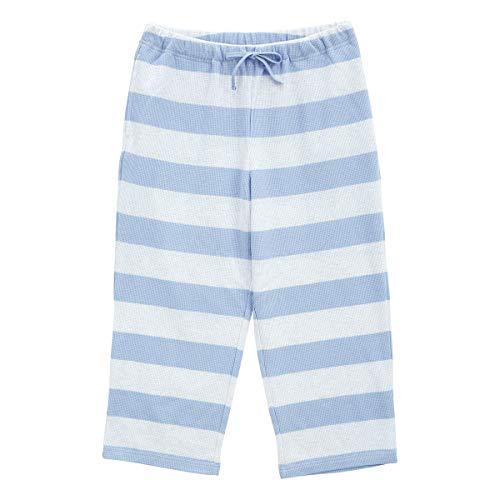 (キッドブルー)KID BLUE 20ワッフルボーダー ルームウェア パジャマ パンツ ボトムス 7分丈(SX-サックス、M