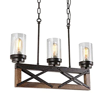 """Eumyviv 3 Lights Kitchen Wood Rustic Chandelier with Glass Shades, 22""""L Industrial Farmhouse Pendant Lamp Vintage Edison Ceiling Island Lighting Fixture, Brown Wood & Black Metal(C0076)"""