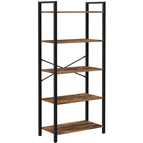 VASAGLE Bücherregal, Aufbewahrungsregal mit 5 Ebenen, Industrie-Design, für Wohnzimmer, Büro, Arbeitszimmer und Flur, Stahlgestell, Holzspanplatten, vintagebraun-schwarz LLS061B01