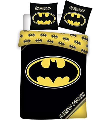 Juego de cama de Batman, 100% algodón, funda nórdica de 140 x 200 cm y funda de almohada de 65 x 65 cm