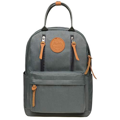 KAUKKO Unisex Schulrucksack mit Laptopfach für 10 Zoll Notebook, Multifunktion Rucksack für Wandern Reisen Camping 13.2 L (Grau JNL-KS06-09)