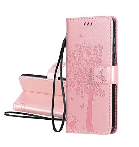 GOGME Hülle für LG K52, Retro Geprägt Muster Design Leder Brieftasche Flip Handyhülle, Kartenfach & Magnet Kartenfach Schutzhülle für LG K52, Roségold