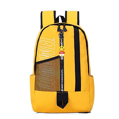 hanggg Mochila para hombres y mujeres bolso pequeño bolso de escuela secundaria temprano mochila amarillo