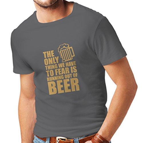 lepni.me Camisetas Hombre Tener Miedo de no Tener una Cerveza - para la Fiesta, Bebiendo Camisetas (Medium Grafito Oro)
