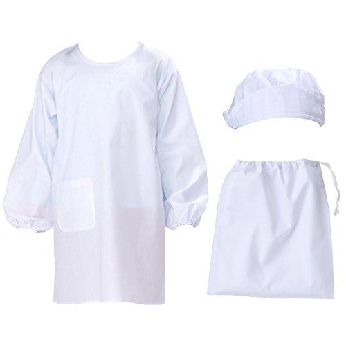 [アイセック] 給食 白衣 3点セット 給食着 給食帽 巾着袋 (1号)