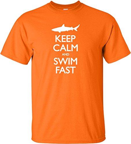 YM 10-12 Orange Youth Keep Calm and Swim Fast Funny Shark Lovers T-Shirt