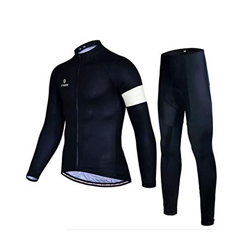 WOFEI Maillot De Cyclisme Professionnel pour Homme Hiver Vélo Jersey Manches Longues Vélo Vêtements Full Zipper Vêtement Vélo Cycling Suits,Noir,M