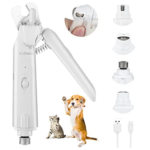 Kottwca Krallenschere für Hunde und Krallenschleifer für Hunde 2-in-1, Krallenzange Krallenschneider Nagelknipser Nagelschere mit 2 LED-Lichtern,Haustier Krallenpflege für Hunde Katzen und mehr, Weiß