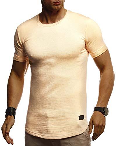 Leif Nelson Herren Sommer T-Shirt Rundhals Ausschnitt Slim Fit Baumwolle-Anteil Cooles Basic Männer T-Shirt Crew Neck Jungen Kurzarmshirt O-Neck Kurzarm Lang LN8311 Orange Medium