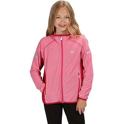 Regatta Kinder Pira Full Zip Extol Stretch Mini Stripe Micro Fleece, Cabaret/Dark Cerise, Size 5-6