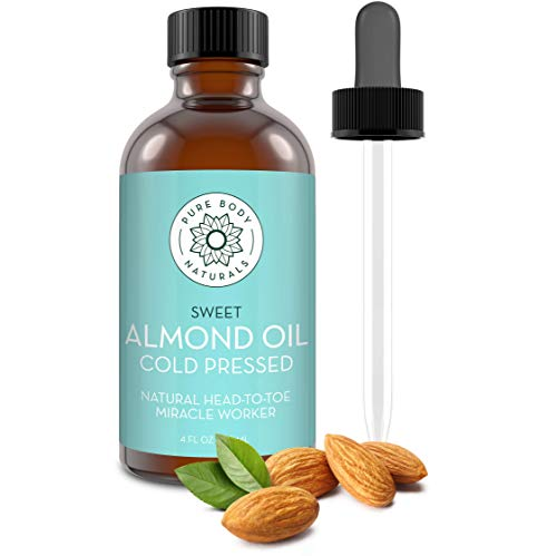 Sweet Almond Oil, 4 fl oz - Cold Pressed and 100% Pure - for Hair, Skin, Nails, Therapeutic Massage, Carrier Oil - by Pure Body Naturals