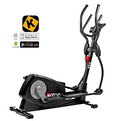 AsVIVA Crosstrainer & Ergometer C26 mit App Bluetooth Konsole   14kg Schwungmasse, Riemenantrieb – Fitnesscomputer mit Handpulssensoren und Pulsempfänger (inkl. Brustgurt)   Heimtrainer schwarz