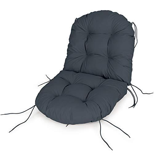 Spatium Cojínes para sillas Asiento + Respaldo Funda desenfundable, Impermeable Muchos tamaños y Colores(60 x 120 x 10cm Antracita)