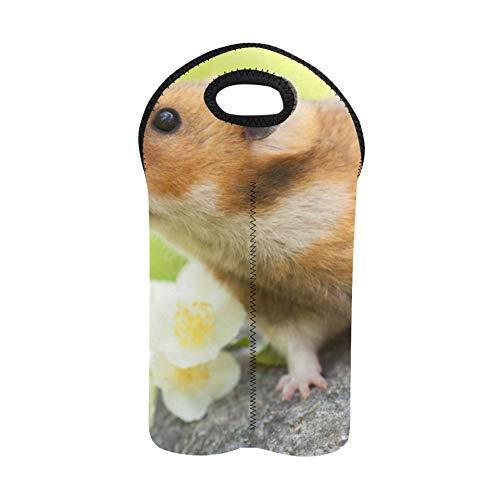 Weinbeutel mit Griffen Niedlicher Hamster auf einem Stein Wein Picknicktasche Doppelflaschenträger Weinflaschentasche Dicker Neopren Weinflaschenhalter hält Flaschen geschützt