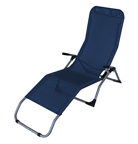 DEGAMO Kippliege Sylt, Stahl grau + Textilgewebe blau, klappbar, für Innen + Außen (1)