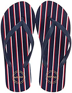 Miniso Women's Stripes Flip Flops M38/39(Dark Blue+Red+White)4509757476411