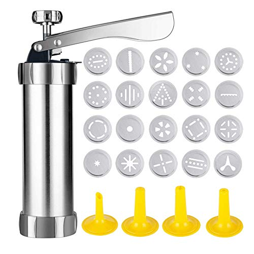 Cookie Press Gun Kit, Cookie Press Gun,Cookie Press Stainless Steel Biscuit Press Cookie Gun Set with 20 Cookie discs and 4 nozzles for DIY Biscuit Maker and Decoration
