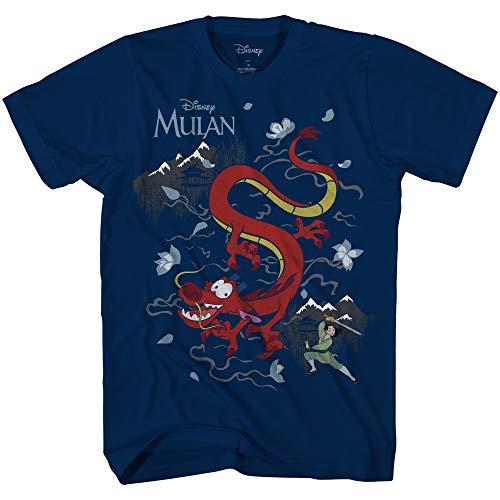 Disney Kids Mulan Mushu Dragon – Playera para niño, Azul Marino, (M (7/8)