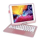 Funda con teclado para iPad 9.7 iPad 2018 (6ª generación), iPad 2017 (5ª generación), iPad Pro 9.7, iPad Air 2&1-360⁰ giratoria, retroiluminación de 7 colores, teclado para iPad OS (9.7,oro rosa)