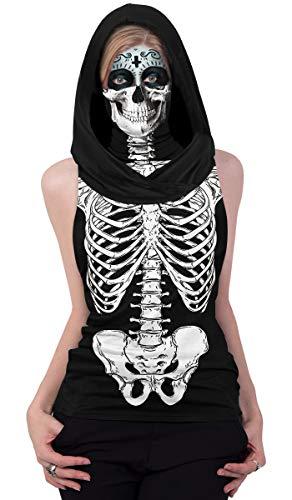 Ainuno Funny Halloween Shirts for Women with Mask,Skull Shirts for Women Teen Girls with Face Gaiter Mask Skeleton Shirt Sleeveless Hoody Tshirts White Skeleton Printed Halloween Top Cute,Skeleton S