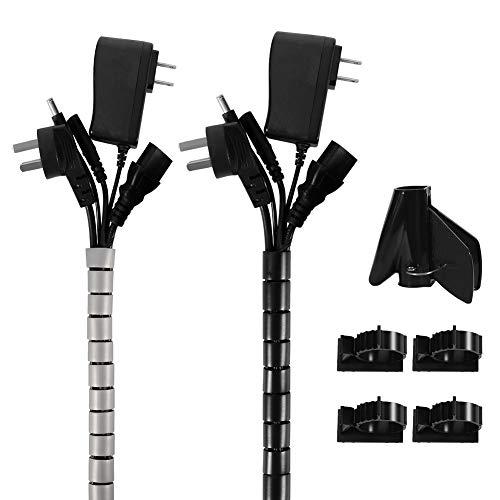 SUSSURRO 2 x 2M Kabelkanal, Flexible Kabelkanal mit einstellbarem, Universal Kabelschlauch Familie PC Kabelmanagement Kabelschutz oder als Kabelorganizer in Schwarz
