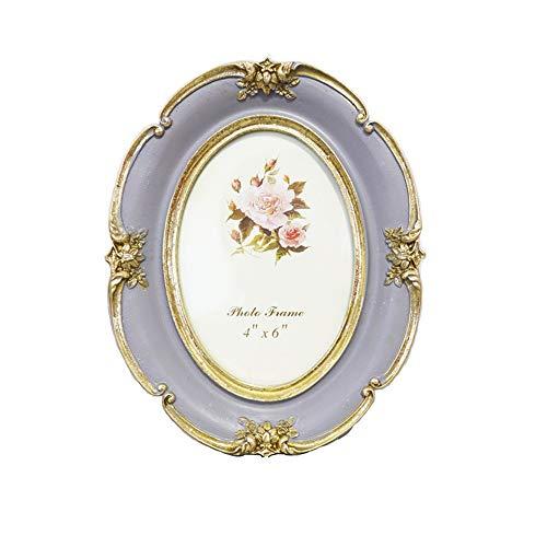 Vintage Picture Frame Oval Antique Table Top wandmontage fotolijst met glazen pui for Decor van het Huis (Color : Light purple, Size : 6inch)