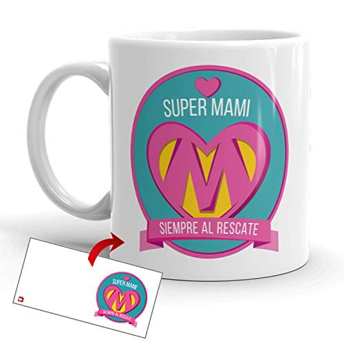 Kembilove Taza Desayuno para Madres – Tazas Originales Graciosas con Mensaje Super mami siempre al rescate – Taza de Café y Té para Madres para regalar el día de la madre – Tazas de 350 ml