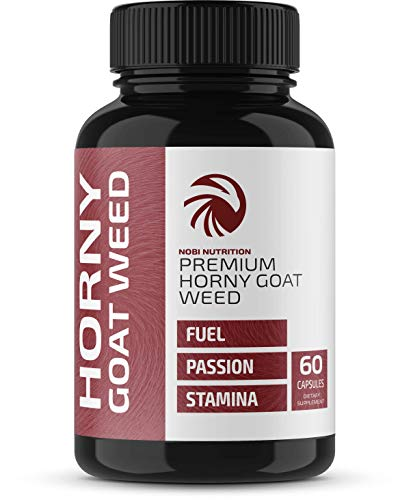 Nobi Nutrition Premium Horny Goat Weed Pills for Men and Women - Fuel, Passion and Stamina - Natural Performance and Libido Boost - 60 Capsules