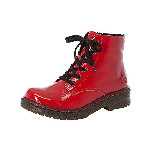 Rieker Damen Stiefel, Frauen Schnürstiefel, Combat Boots schnürung,Rot(Flamme),38 EU / 5 UK