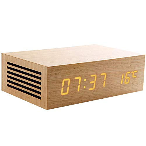JIAMEIMEI Wireless Charger, Alarm Clock Wooden Bluetooth Speaker Subwoofer 3D Stereo Sound Bo, with Mic TF Card for Smartphone Tablet PC,A Pioneer Sound Speaker (Color : B, Size : -)
