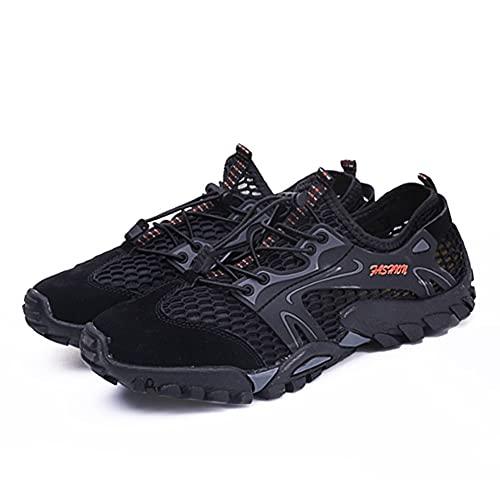 CO&CO Calzado De Agua para Hombre Descalzo Deportes De Playa Calzado De Secado Rápido Antideslizante Al Aire Libre(Size:40,Color:Negro)