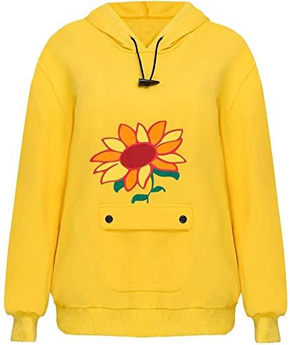 Sudadera con capucha con estampado para mujer, niña, cosplay, fiesta, accesorios para cosplay (color amarillo, tamaño: S)