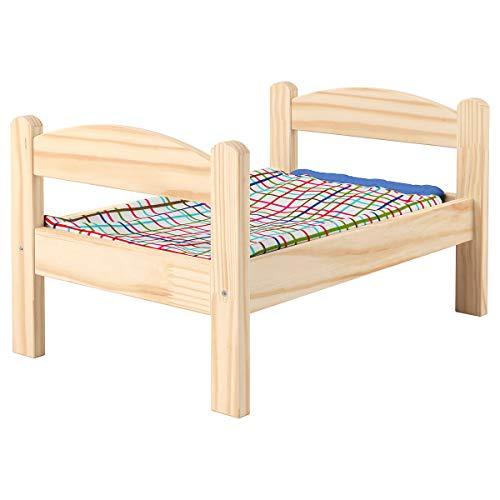 IKEA DUKTIG Puppenbett mit mehrfarbiger Bettwäsche