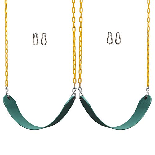 """Jungle Gym Kingdom 2 Pack Swings Seats Heavy Duty 66"""" Chain Plastic Coated - Playground Swing Set Accessories Replacement Snap Hooks (Green)"""