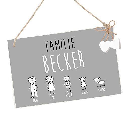 Türschild mit Name der Familie und Figuren - Haustürschild in Grau und Weiß, Familienschild aus Holz