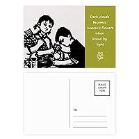 男の子の女の子の小麦の顕微鏡の愛国心 詩のポストカードセットサンクスカード郵送側20個