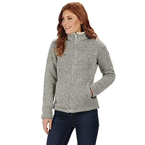 Regatta Damen Raizel Full-zip Knit Effect Hi Pile Bonded Fleece Jacke, Grau (Ligth Vanilla), 38 EU (Herstellergröße: 12)
