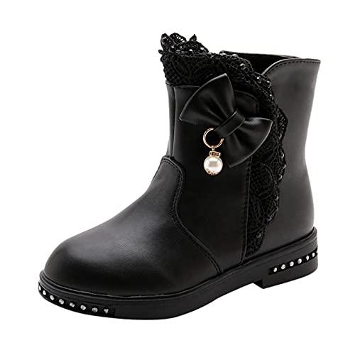 Botines de poliuretano para niña, zapatos de princesa, botas de invierno, botas térmicas para niños, botas con lazo, antideslizantes, con cremallera