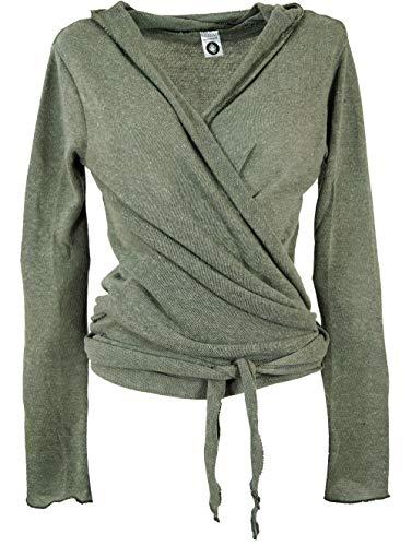 Guru-Shop Wickelshirt, Baumwollstrick Pullover, Wickeljacke, Damen, Helles Khakigrün, Baumwolle, Size:M (38), Pullover, Longsleeves & Sweatshirts Alternative Bekleidung