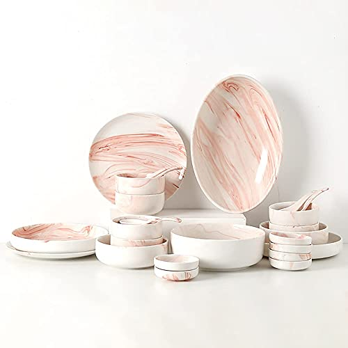 YUNLILI Regalo de Moda Cerámica Juego de vajillas Rosa Marbling Chip Resistente a la Cena/Platos y Platos de combinación de Porcelana y Cuencos for la Fiesta al Aire Libre Interior
