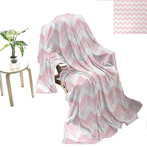 jecycleus Chevron Rugged or Durable Camping Blanket Zigzag Chevron Grunge Pattern in Soft Colors Simplicity Artful Design Warm and Washable W70 x L90 Inch Rose Pale Pink White