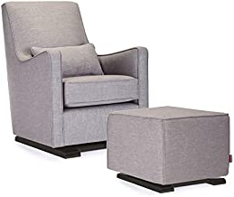 Monte Design Upholstered Modern Nursery Luca Glider Chair and Ottoman, Pebble Grey