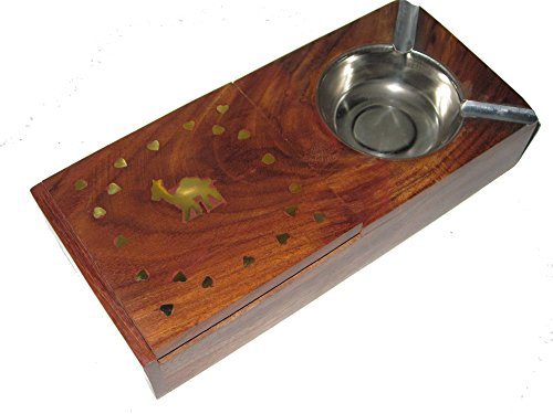 Holzaschenbecher | handgefertigt | mit aufklappbarer Zigaretten Aufbewahrungsbox | aus Indien | 2 Steckplätze | dekorativ verziert