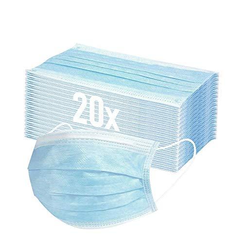 20x JOINTO WASSERRESISTENT EN14683 TYP IIR Maske - chirurgische Gesichtsmaske Einweg Vlies Einwegmaske Mundschutz Mund Nase Staubschutz mit Ohrschlau